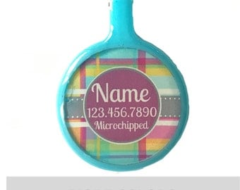 Pink and Blue Plaid Silver Custom Personalized Dog ID Pet Tag Custom Pet Tag You Choose Tag Size & Colors
