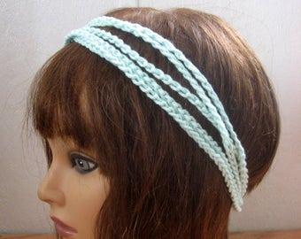 BoHo Crochet Hairband, Bohemian Band, Mint Dread Wrap, Hair Accessory, Women n Teens, Hippie Hair Band, Hair Tie, Crochet Headband  BH3