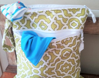 Zippered Wet Bag, Double Wet Bag, Wet Dry Bag with 2 zippered pockets, cloth diaper bag, swimsuit bag, kitchen wet bag