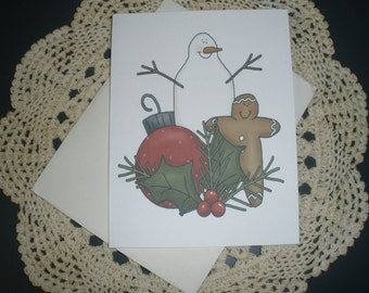 Prim Snowman & Gingerbread Note Cards ~ N15