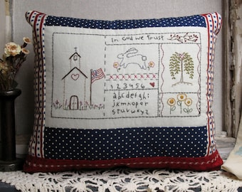 In God We Trust Primitive Stitchery Americana Pillow, Country Sampler, Folk Decor