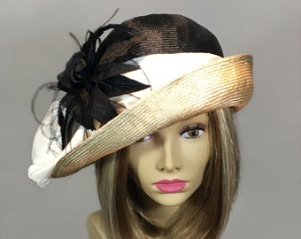 Fiona, beautiful two tone straw hat from the Downton Abbey era, silk dupioni sash, with feathered flower