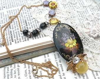 lacquer necklace russian spring floral assemblage bee recycled vintage jewelry black beads Czech flowers