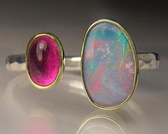 Boulder Opal and Pink Tourmaline Ring - 18k Gold and Sterling Silver - Open Stone Cocktail Ring - sz 7