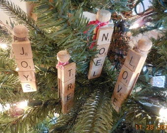 Clothespin And Scrabble Tile Christmas Ornaments