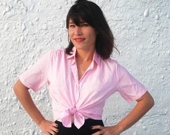 Vintage Owl Pink Polka Dot Blouse Button Down Shirt Silk Screened by Tecolote Vintage L/XL