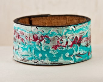 Turquoise Jewelry - Tooled Leather, Stamped, Carved, Embossed, Vintage, Southwest