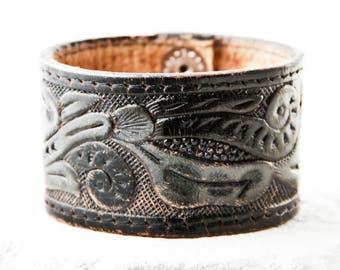 Tooled Leather Bracelet Cuff Black Vintage Belt