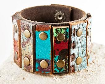 Turquoise & Black Bracelet Leather Jewelry
