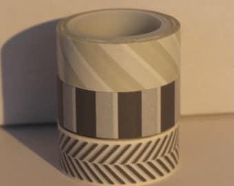 Set of 3 Washi Tape Grey White Stripes Pattern Designs