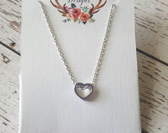Dainty Silver Heart Charm Pendant Necklace, Great Teacher Gift