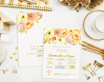 Gold Peach Coral Floral First Communion Invitation. Floral Baptism Invite. Icon First Holy Communion. Icon Invite. Girl Communion Invite
