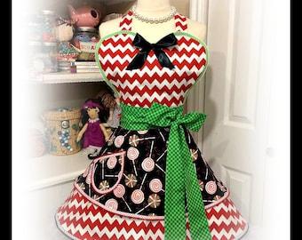 Candyland Christmas Apron, handmade, retro, kitchy