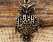 Bronze Finish Puffy Owl Pendant  ~  Bronze Finish Owl Jewelry Component  ~  Owl Jewelry Supply  ~  Bronze Owl Embellishment  ~  Owl Pendant