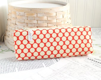 Red Polka Dot Pencil Case Red and Cream Polka Dots Cute Pencil Case Long Zipper Pouch