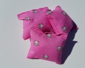 Cute Pink Skulls Trio of Catnip Pillow Puffs Kitty Cat Toy Halloween Gothic