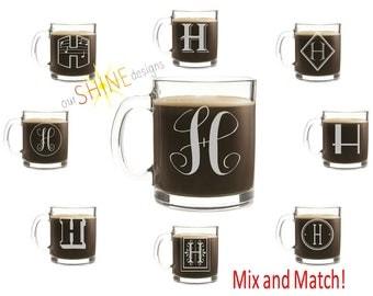 Monogrammed Etched Coffee Cup, Etched monogram cup, Monogrammed gift, Engraved Glass Mug, Monogrammed coffee mug, Wedding gift, Housewarming