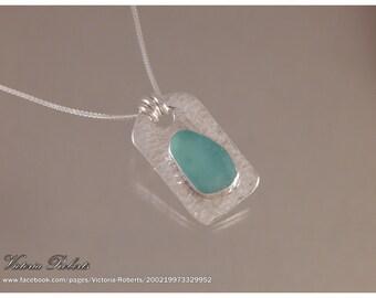"""Aqua Sea Glass Heart Necklace  in Fine Silver with 18"""" ss Box Chain"""