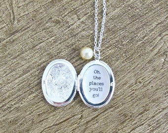 Dr Seuss Quote Locket Necklace Oh The Places You'll Go Graduation. Customized Jewelry Jewellery Two Cheeky Monkeys Typography Personalised