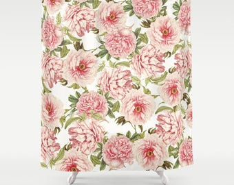 Old fashioned Peonies Shower Curtain, pink, bathroom,home decor,pastel,Peony,nature,floral shower curtain,shabby chic,english cottage