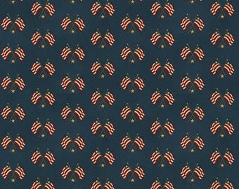 NEW Liberty Hill Quilt Fabric 100% Cotton Americana  Over One Yard Cut of Coordinating Navy Flags