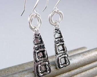 Cool Earrings, Silver Drop Earrings, Smart Jewelry, Nickel Free Earrings, Trendy Jewelry, Nickel Free Jewelry, Pewter Earrings