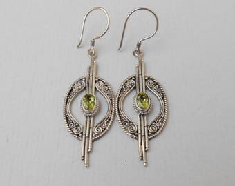 Sterling Silver green Peridot gemstones dangle Earrings / 2.25 inch long / Bali handmade jewelry / silver 925