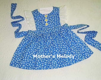 Pinafore Jumper Dress in Blue Cotton Daisy print.  Size 12 months - 1T.  Ready to ship.