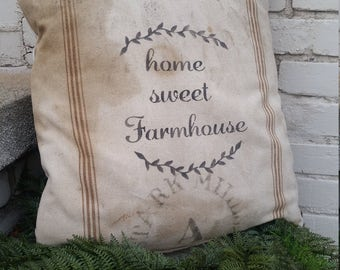 Authentic GRAIN SACK PILLOW Home Sweet Farmhouse