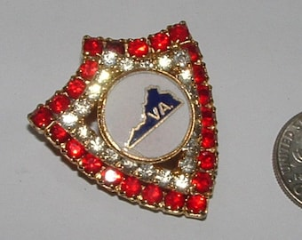 cute little STATE pin for virginia--all  rhinestones  still nice  red white blue  colors  1960s vintage