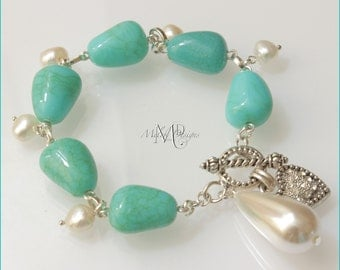 White Freshwater Pearl Turquoise Bracelet