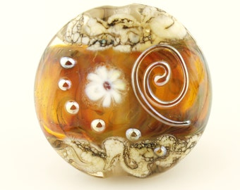 Lampwork Glass Bead, Lentil Focal, Topaz, Red,  Iridescent Gold, Silver