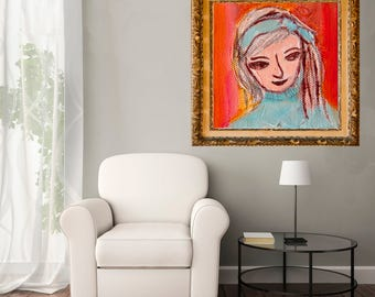 Fine Art Print, Giclee Print, pink red turquoise, Pili Face girl painting, modern wall art print by Ana Gonzalez