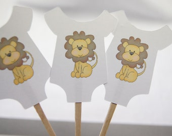 Baby Shower, Cupcake Toppers, Baby Shirt, Yellow Lion, Boy, Girl, Gender Reveal, Party Picks, Food Picks, wip2