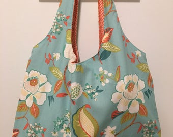 Large Tote Bag - Teal and Coral Floral