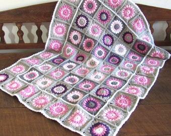 Handmade crochet toddler/baby sunburst flowers nursery blanket  / afghan granny squares pink white grey purple
