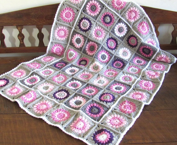 Handmade crochet toddler/baby sunburst flowers nursery blanket  / afghan granny squares pink white grey purple