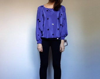 Vintage Batwing Top 80s Top Purple Blouse Long Sleeve Top 80s Sequin Top Oversized Top - Small to Medium S M