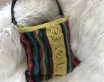 stripes and flowers crocheted shoulder bag
