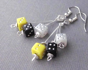 Dice Earrings, Multicolored, Dangling Dice Earrings, Yellow Dice Earrings, Black Dice Earrings, Gambling Earrings, Casino, Dice Jewelry