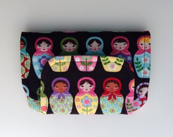 BIG fabric wallet / purse . Matrioshka doll print with mint lining