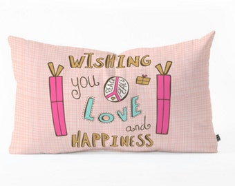 Christmas Pillow // Christmas Home Decor  // Oblong Lumbar Pillow // Peace Love and Happiness Hand Lettering // Presents // Throw Pillow