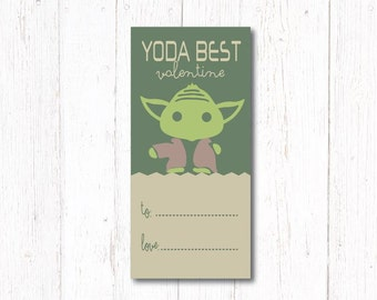 Yoda Best Valentine! OR Yoda Best! Thanks For Coming Party Favor, Star Wars
