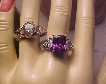Lot STERLING Rings Rhinestone DAZZLER Engagement Lk & Rich Purple Sz 11 3/4 and 9 1/2 Quality