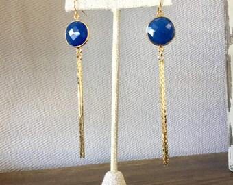 OOAK Blue Agate and Gold Tassel Dangle Earrings