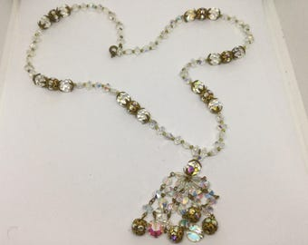 Clearance Vinatge Crystal Beaded Necklace with Tassel