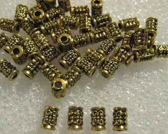 Filigree Brass Tube Spacer Beads 9mm x 5mm -- 40 beads