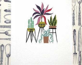 Indoor Garden Illustration Print
