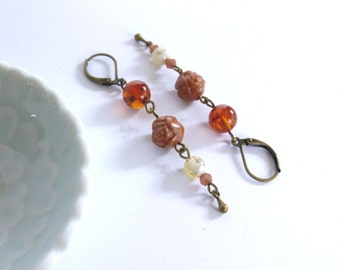 In Bloom |  Vintage Lucite Bead and Antique Bronze Dangle Earrings | Rose  |   Romantic