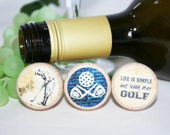 Golf Wine Stopper, Golf Gift, Golf Lover, Fathers Day Gift, Wine Lover, Wine Stopper, Wedding Gift, Wedding Favor, PGA Tour, Cork Stopper